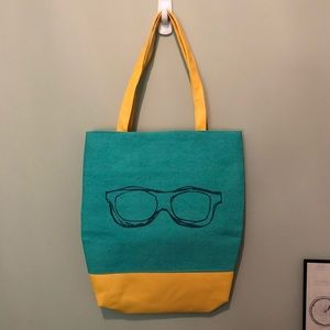 Handbags - Eye Glasses Graphic Print Canvas Faux Leather Tote